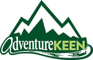 """AdventureKeen logo, Green and white snow-topped mountains with the words """"AdventureKeen"""" at the base."""